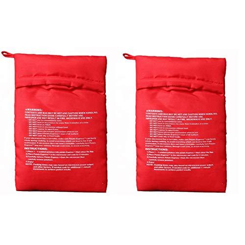 OBTANIM Microwave Potato Bag, 2 Pack of Reusable Microwave Cooker Bag Baked Pouch Potato Bag, Red