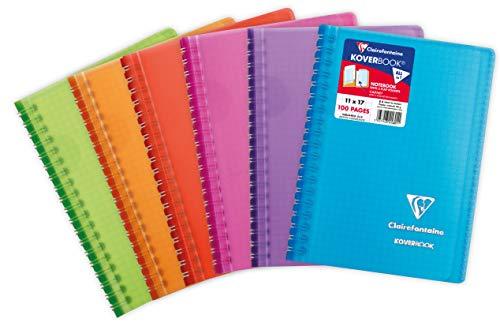 Clairefontaine 341601C Un Carnet à Spirale Koverbook - 11x17 cm - 100 Pages Petits Carreaux - Papier Blanc 90 g - Couverture Polypro Couleur Aléatoire