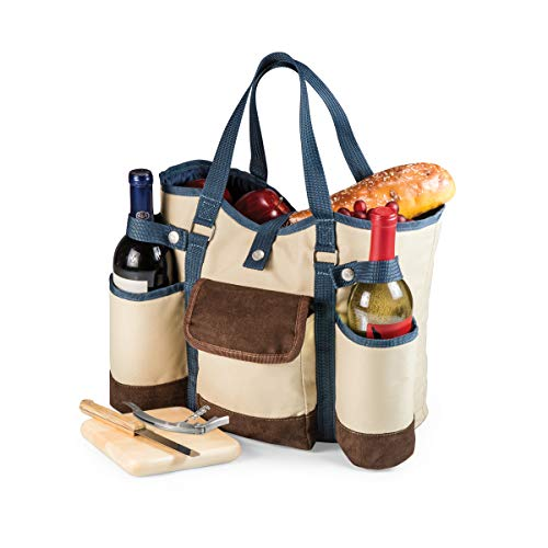 "LEGACY - a Picnic Time Brand Country Cheese Service and Corkscrew Wine Tote Bag, 14"" x 12"" x 8"", Tan/Blue"