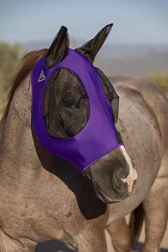 Fly Mask Web Trim, Beschermt Paarden Gezicht en Ogen tegen Bijtende Insecten en UV-stralen terwijl het toestaan van volledige zichtbaarheid, oren en voorhuid in staat om te komen door het masker, paars, COB