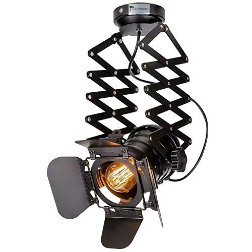 Lámpara de techo E27, lámpara de techo industrial, retro, vintage, industrial, negra, raíl de metal ajustable, iluminación de péndulo (bombilla no incluida)
