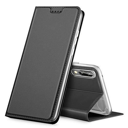 Verco Handyhülle für P20, Premium Handy Flip Cover für Huawei P20 Hülle [integr. Magnet] Book Hülle PU Leder Tasche, Schwarz