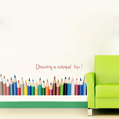 Zyzdsd Bunte Bleistift Wandaufkleber Für Kinderzimmer Zeichnung Ein Buntes Leben Wand Aufkleber Aufkleber Kunst Kinderzimmer Kinder Room Decor Poster