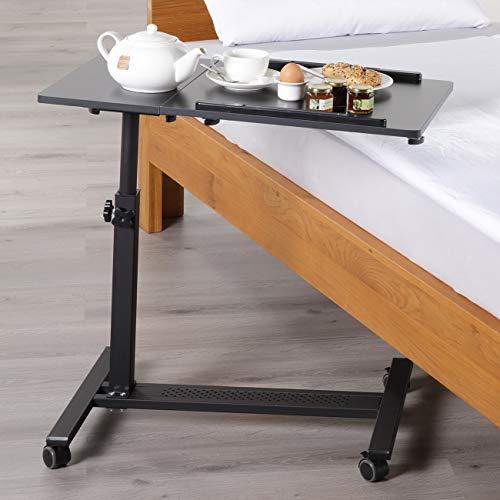 maxVitalis mobiler Betttisch auf Rollen, Beistelltisch höhenverstellbar/breitenverstellbar, Tischplatte neigbar/klappbar, Bett-Beistelltisch für Krankenbett, Pflegebett, Laptoptisch (Schwarz)