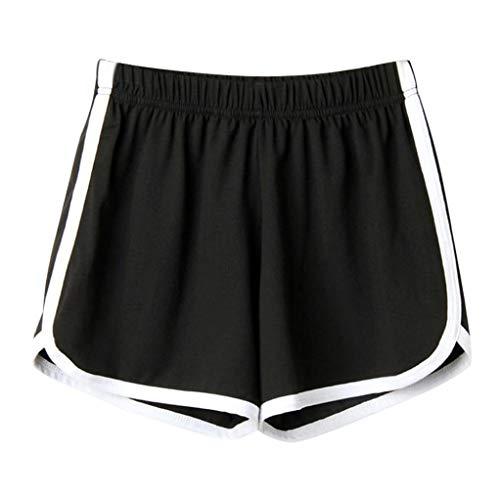 Ansenesna Shorts Damen Sommer Kurze Sport Freizeithosen Mit Gummibund Mädchen Teenager Freizeit Für Running (Schwarz, S)