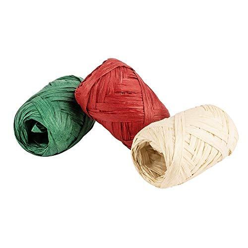 Geschenkbänder Bast, 0,5 bis 3 cm breit (auffaltbar), 10m lang, 3 Stück, rot, grün, natur