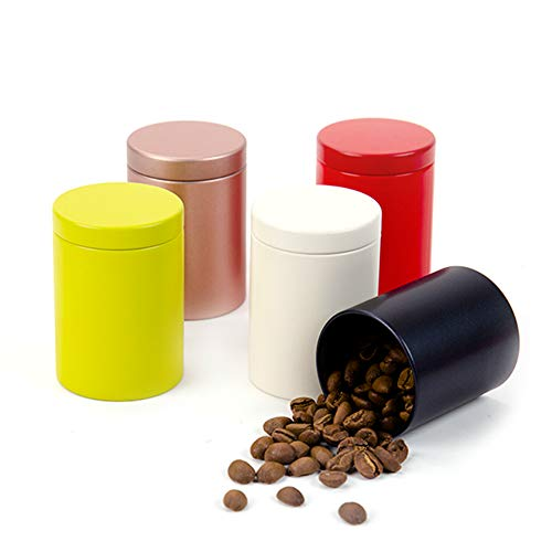 Tianhui Small Tin Can Box with Airtight Lids Canister for Coffee Tea Candy Storage Loose Leaf Tea Tin Containers Storage 5 Pcs (All Colors, M)