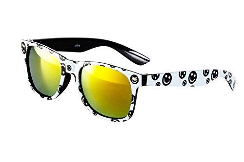 Sonnenbrille Nerd Brille Weiß Schwarz Smiley