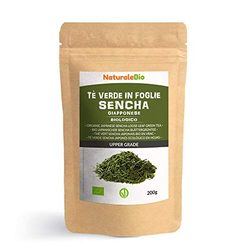 Thé vert Sencha Japonais Bio [ Upper grade ] de 200g. 100 % Bio, Naturel et Pur, Thé vert en vrac de première récolte cultivée au Japon. Organic Japanese Sencha Green Tea. NaturaleBio