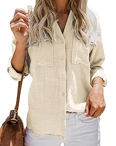Damen Bluse Oversized Shirts V Ausschnitt Hemd Langarm Lose Schick Langarmshirt Sommer Tops Oberteil, Khaki, M