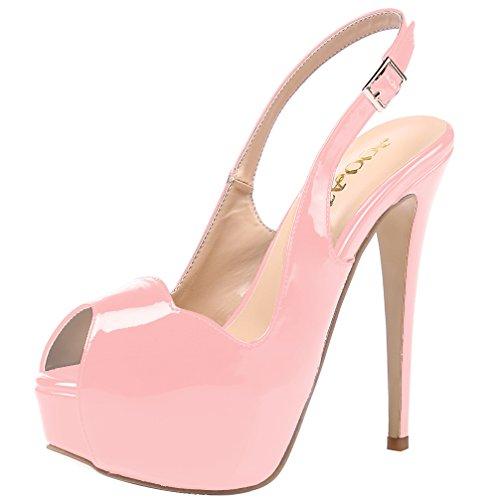 AOOAR Damen Peep-Toe High Heel Sandalen Pink Lackleder Pumps mit Plateau EU 43