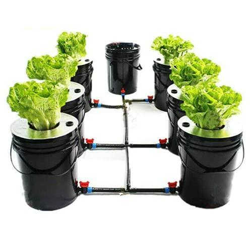 Deep Water Culture Hydroponic DWC System 5 Gallon 7 Bucket Kit DWC Hydroponic System Grow Kit para cultivo de plantas, verduras, hierbas, ensaladas y plantas ornamentales