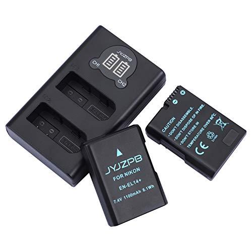 JYJZPB EN-EL14 EN EL14a Battery Pack and Charger for Nikon D3100, D3200, D3300, D3400, D3500, D5100, D5200, D5300, D5500, D5600, DF, P7000, P7100, P7700, P7800 Cameras