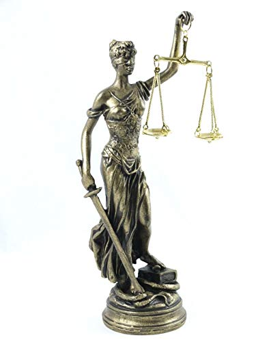 BeautifulGreekStatues Estatua de la diosa griega, estatua ciega de la señora justicia abogada regalo estatua bronce tono 25,4 cm