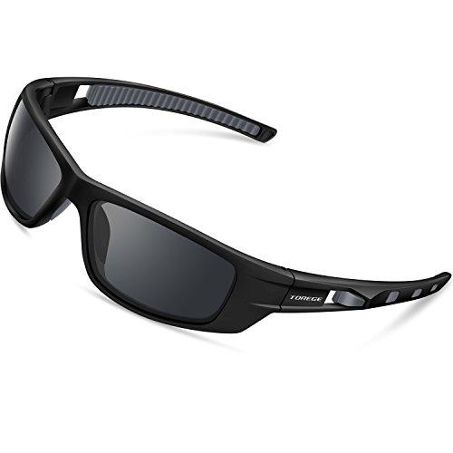 Gafas de sol polarizadas TR040 de Torege, para correr, pescar, practicar golf y ciclismo, unisex, Black&Gray&Gray Lens