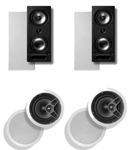 New Polk Audio 265 RT 3-Way in-Wall Speaker (Pair) Plus A Polk Audio MC80 in-Ceiling Speaker (Pair)