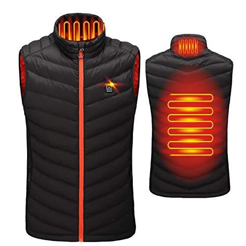 Elektrische Heizweste für Männer und Frauen für Herbst/Winter, leichte Jacke, schöne Aufwärmen, Campingunternehmen im Freien Red Black-L