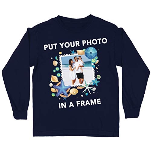 lepni.me Kinder T-Shirt Individuelle Sommerferienerinnerungen Bilderrahmen Ihr Urlaubsfoto Hier (12-13 Years Blau Mehrfarben)