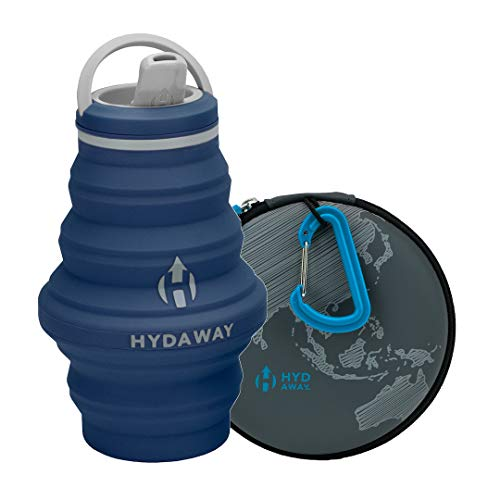 HYDAWAY Hydration Travel Pack | 17oz Collapsible Water Bottle with Spout Lid and Compact Travel Case with Carry Clip (Seaside)