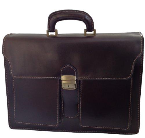 Chicca Tutto Moda Les hommes de sac de serviette par CTM sombre organisation du travail, 41x31x18cm, 100% cuir Made in Italy