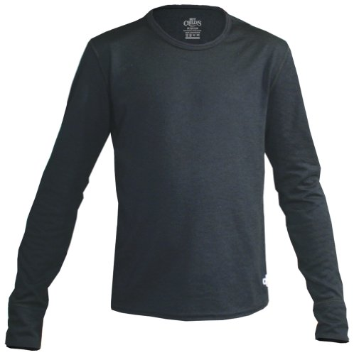 Hot Chillys Youth Midweight Banded Crew (Black, Medium)