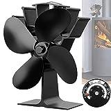 Ventilatore per Stufa, Ventilatore per Camino con 4 Elica Funzionamento da 50°C...