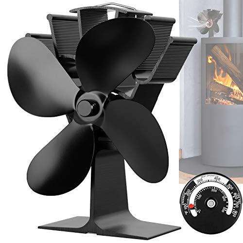 BenkerEsti Ventilateur de poêle à bois 4 pales silencieux Noir