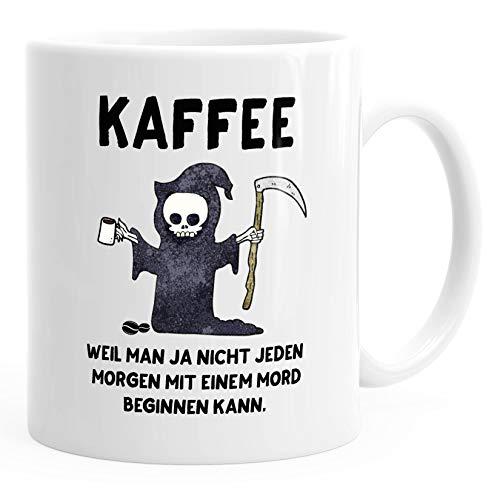 MoonWorks® Kaffee-Tasse Kaffee weil man ja nicht jeden Morgen mit einem Mord anfangen kann Spruch Papa weiß unisize