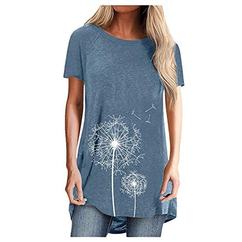 NAQUSHA Blusa tipo túnica para mujer, de manga corta, cuello en V, color sólido, para verano, para mujer