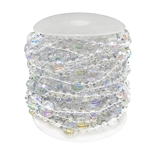 D-Seven 33 ft Beads Chain Acrylic Clear Iridescent Beads String Clear AB Crystal Like Beads by The Roll Clear Beads Garland for Wedding Home and DIY Craft Jewelry or Wedding Party Decoration