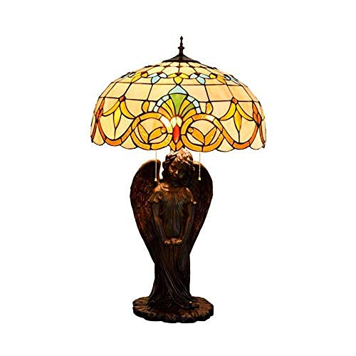 MISLD Table Lamps, Tiffany Style Table Lamp With Baroque And Daughter Of Base Angel Glass Lamp, Retro Lights