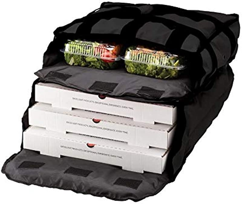 Insulated Black Nylon 2 Compartment Hot Cold Pizza Delivery Bag 20 X 19 5 X 7 5