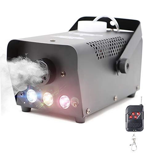 Fog Machine with Lights Wireless Remote Control, Smoke Machine with 7 Colors Lights for Stage Party Effect, Halloween…