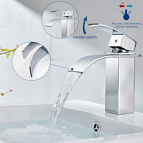 Auralum® Design Einhebel Wasserhahn Armatur Waschtischarmatur Wasserfall Einhandmischer für Badezimmer Waschbecken - 2