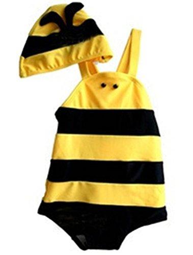 ARAUS Unisex Badeset Einteiler Schwimmanzug+Badekappe UV-Schutz Biene 2er Set für 8 Monate-3 Jahre (2-3 Jahre, Biene gelb)