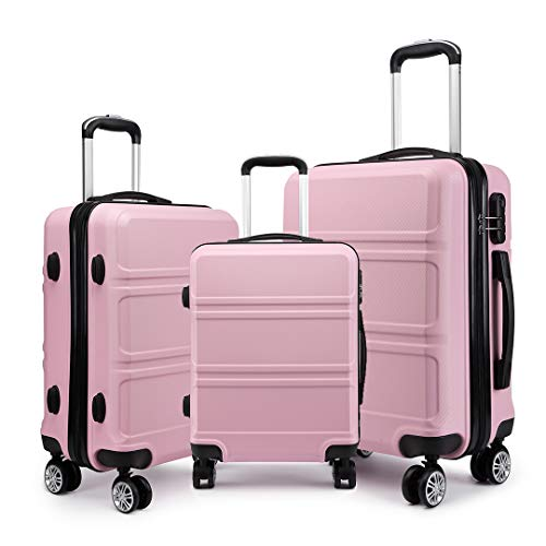 Kono Fashion Luggage Set of 3 PCS Lightweight ABS Hard Shell Trolley Travel Case with 4 Spinner Wheels 20' 24' 28' Suitcase (3 Pcs Set, Pink)