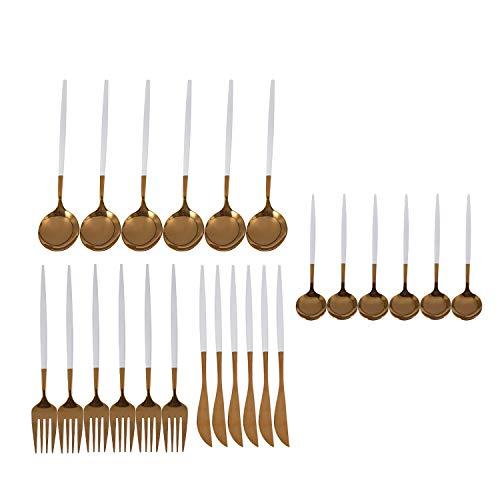 Cobeky Juego de 24 cubiertos dorados para cocina, espejo de acero, juego de vajilla con cuchillo, tenedor, cuchara, juego de vajilla