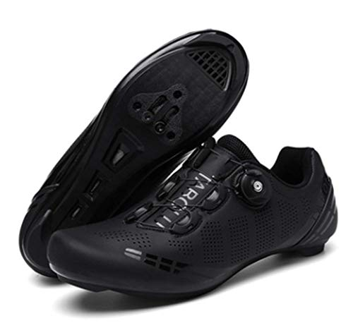 Govoland Cycling Shoes Men's And Women's Road Bike Cycling Shoes Laces Bicycle Shoes Indoor/outdoor With Lock(44, Black)