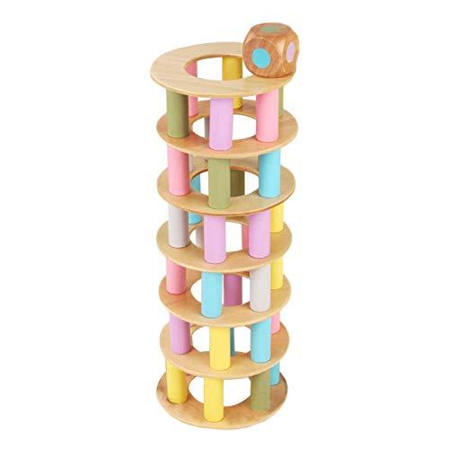 YEES Building Games Leaning Tower Feinmotorische Fähigkeitsbausteine mit Würfeln die schiefen TurmspielzeugFamilienpartyspiele stürzen Für Kinder Family Outdoor Backyard Games opportune