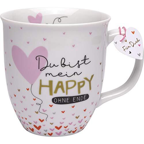 H:) PPY life 46720 Tasse mit Spruch Du bist mein Happy ohne Ende, Porzellan, 40 cl