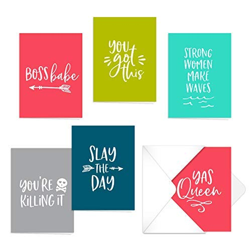 Female Empowerment Note Cards / 12 Motivational Notes and Envelopes / 12 Blank Cards