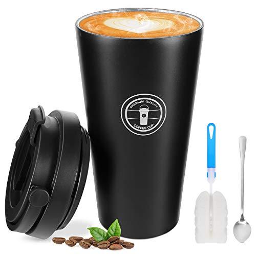Gifort Kaffeebecher aus Edelstahl, Isolierbecher Doppelwandig mit Vakuumisolierung, Kaffee to go Becher 500ml für Kaffee / Tee / Wasser / Reisen / Büro, rostfrei 100% Auslaufsicher Wiederverwandbar