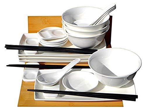 Japanische weiße Sushi-Set mit Schüsseln und Löffel für vier