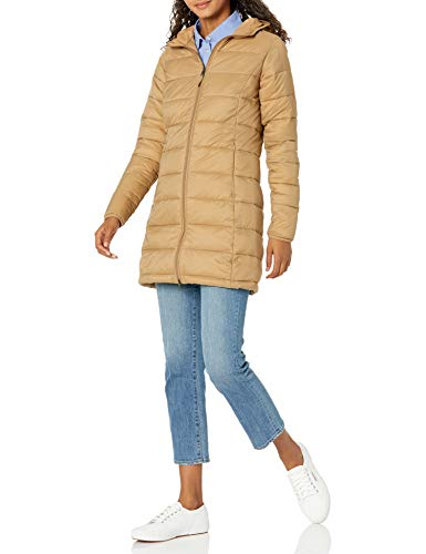 Amazon Essentials Women's Lightweight Long-Sleeve Full-Zip Water-Resistant Packable Hooded Puffer Coat, Camel, Large