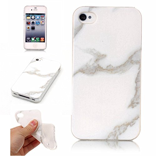 pinlu® Etui Handyhülle Für iPhone 4 4S 4G Weich TPU Silikon Ultra Dünn Protective Case Marmor Backcover Kratzfeste Entwurf Marble Linien Muster Beige Weiß