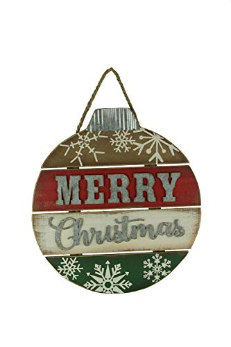 Red White and Green Wood Merry Christmas Ornament Wall Hanging - Favorite Decor Store