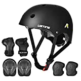 USTINE Kids Helmet Knee and Elbow Pads Wrist Guards Set,Toddler Helmet for Ages 3-8 Boy Girl with Sports Protective Gear Set for Skateboard Scooter Cycling Rollerblading CSPC Certified