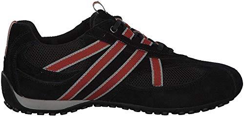 Geox U2207S Snake Sportlicher Herren Sneaker, Schnürhalbschuh, Freizeitschuh, atmungsaktiv, lose Einlegesohle,  43 EU,  Schwarz Orange U2207sa2214c0038