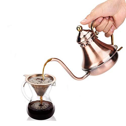 Diyeeni Pour Over Wasserkessel, 420ml Retro Kaffeekessel 304 Edelstahl Kaffeekanne Teekanne mit Schwanenhals Schmaler Auslauf für Handgefilterten Kaffee