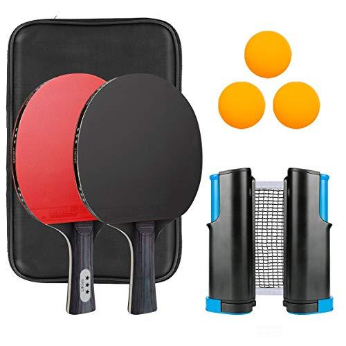 Maxjaa Zestaw rakietek do tenisa stołowego, zestaw rakietek pingpong, 2 paddle, 3 piłeczki do pingpong, torba do przechowywania i zwijana siatka do tenisa stołowego